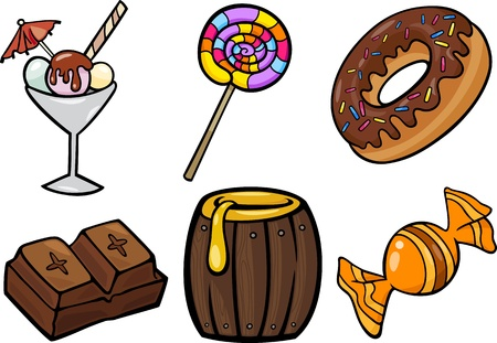 Cartoon Illustration of Sweet Food or Confectionery Candies Objects Clip Art Set Vettoriali