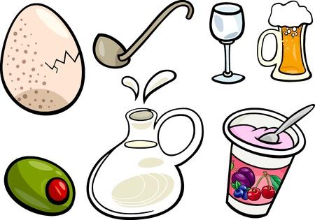 食糧および飲み物オブジェクトの漫画イラスト クリップ アート セット