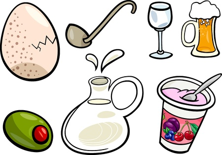 Cartoon Illustration of Food and Drink Objects Clip Art Set Vetores