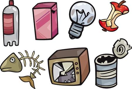 botes de basura: Ilustración de la historieta de la basura o no deseado Objects Set Clip Art Vectores