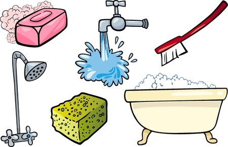 bathtub: Cartoon Illustration of Hygiene and Cleaning Objects Clip Art Set
