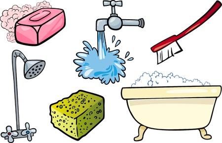 Ilustración de la historieta de la higiene y limpieza de objetos Clip Art Set
