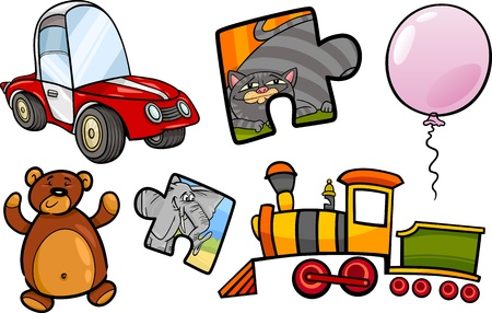 Cartoon Illustration of Toys Objects for Children Clip Arts Set Stock Vector - 22032415