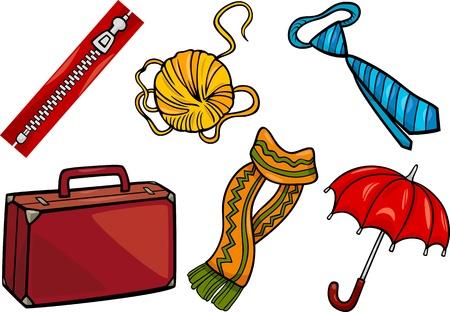 objetos de la casa: Ilustraci�n de dibujos animados de diferentes objetos para el hogar y ropa o accesorios Clip Art Set