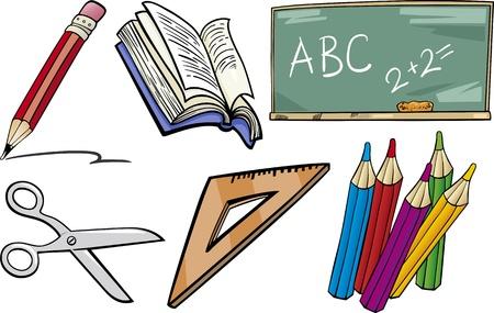 Ilustraci�n de dibujos animados de objetos de la escuela para los ni�os y los alumnos o estudiantes Clip Arts Juego