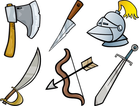 sabre: Cartoon Illustration of Blades and Weapons Historical Objects Clip Art Set