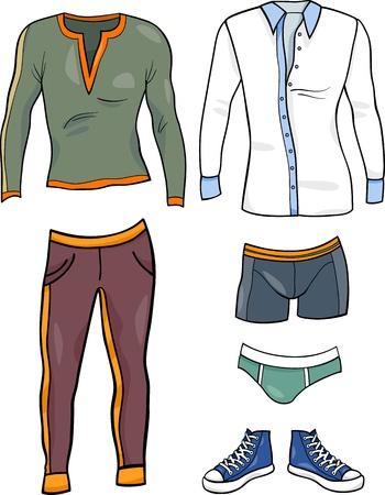 mann unterw�sche: Cartoon Illustration der M�nner Kleidung Gegenst�nde Set