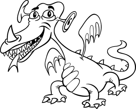 bogie: Black and White Cartoon Illustration of Funny Monster or Fright or Fantasy Dragon for Children to Coloring Book
