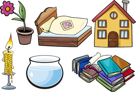 every: Cartoon Illustration of Household and Every Day Objects Clip Art Set