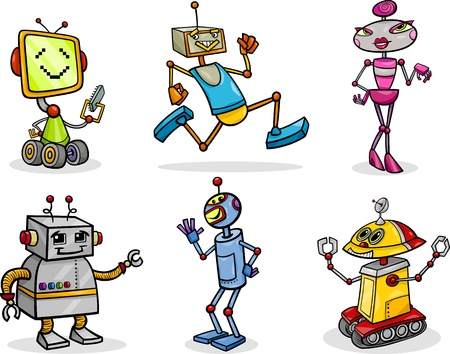 Cartoon Illustration of Funny Robots or Droids Set Vector