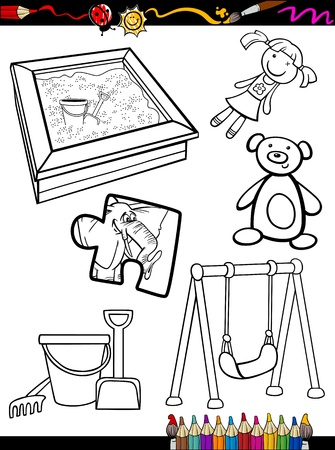 swings: Coloring Book or Page Cartoon Illustration of Black and White Toys Objects Set for Children Education