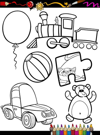 for children toys: Coloring Book or Page Cartoon Illustration of Black and White Toys Objects Set for Children Education