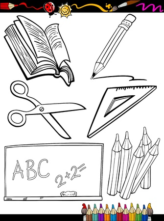 crayon  scissors: Coloring Book or Page Cartoon Illustration of Black and White School Objects Set for Children Education
