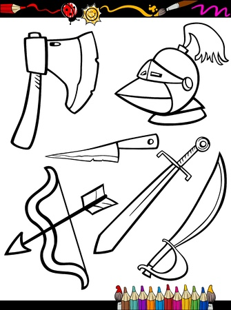 Coloring Book or Page Cartoon Illustration of Black and White Old Weapons Objects Set for Children Education Illustration