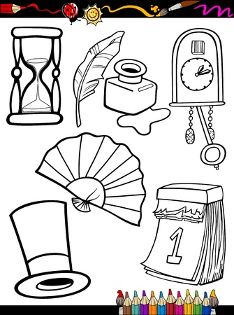 Coloring Book or Page Cartoon Illustration of Black and White Retro Objects Set for Children Education Vector