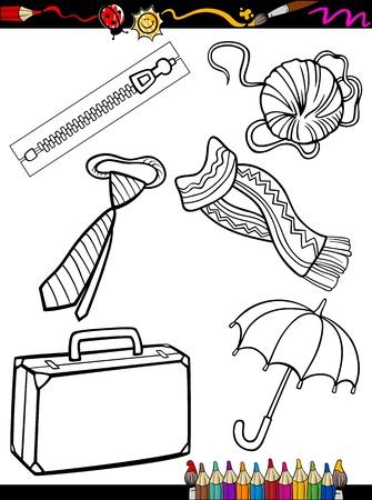 着色書籍または黒と白の服やアクセサリーのオブジェクト セット子供たちの教育のためのページの漫画イラスト