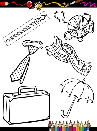 Coloring Book or Page Cartoon Illustration of Black and White Clothes and Accessories Objects Set for Children Education