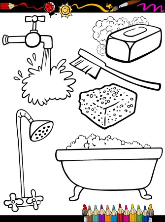 cleaning bathroom: Coloring Book or Page Cartoon Illustration of Black and White Hygiene Objects Set for Children Education