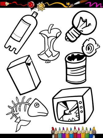 COLOURING: Coloring Book or Page Cartoon Illustration of Black and White Garbage Objects Set for Children Education Illustration