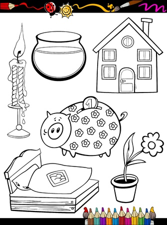 Coloring Book or Page Cartoon Illustration of Black and White Home Objects Set for Children Education Vector