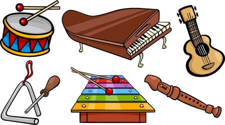 triangle musical instrument: Cartoon Illustration of Musical Instruments Objects Clip Art Set Illustration