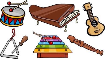 musical instruments: Cartoon Illustration of Musical Instruments Objects Clip Art Set Illustration