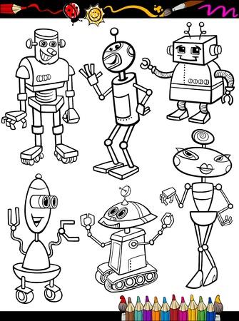 塗り絵ページ漫画イラストのまたは黒と白の想像または空想科学小説ロボット漫画のマスコット文字セット子供のため  イラスト・ベクター素材