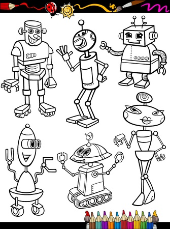 robots: Coloring Book or Page Cartoon Illustration Set of Black and White Fantasy or Science Fiction Robots Comic Mascot Characters for Children Illustration