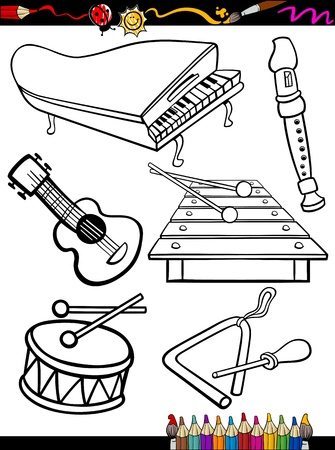 Coloring Book or Page Cartoon Illustration of Black and White Music Instruments Objects Set for Children Education