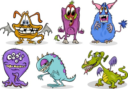 Cartoon Illustration of Fantasy Monsters or Halloween Frights Set Vector