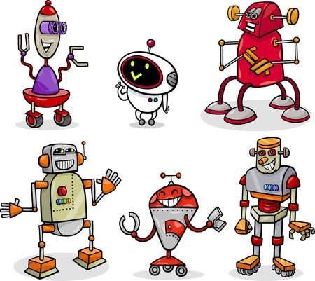 Cartoon Illustration of Funny Robots or Droids Fantasy Set Vector