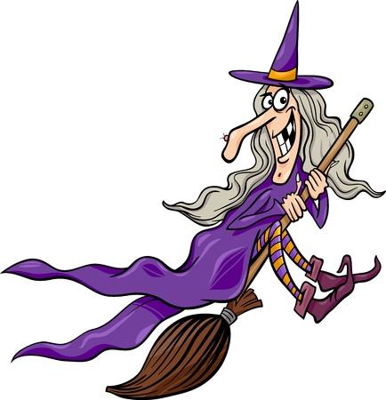 Cartoon illustratie van grappige Fantasy of Heks vliegen op bezem