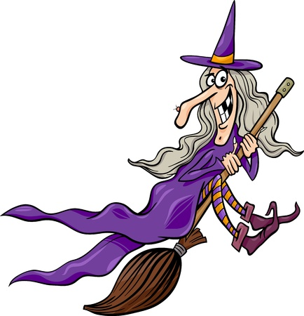Cartoon Illustration of Funny Fantasy or Halloween Witch Flying on Broom
