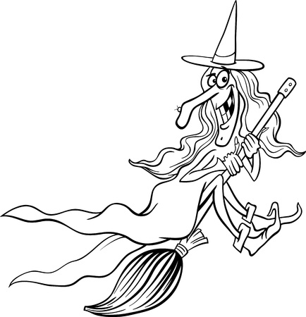 Black and White Cartoon Illustration of Funny Fantasy or Halloween Witch Flying on Broom for Children to Coloring Book