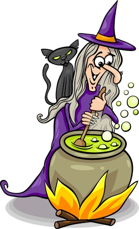 casts: Cartoon Illustration of Funny Fantasy or Halloween Witch with Black Cat Cooking a Magic Mixture