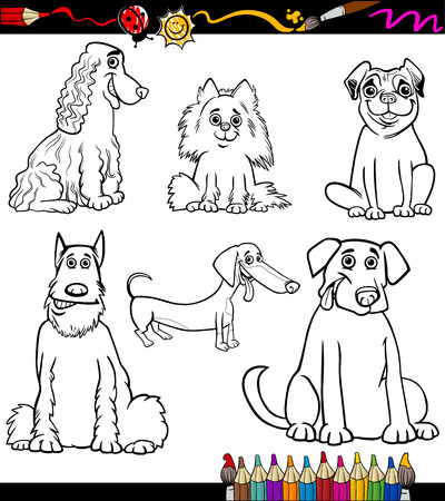 spaniel: Coloring Book or Coloring Page Black and White Cartoon Illustration of Funny Purebred Dogs or Puppies Illustration
