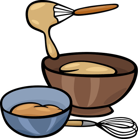 Cartoon Illustration of Kneading Dough with Whisk in a Bowl Clip Art