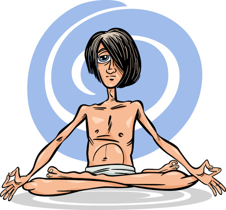 meditation man: Cartoon Illustration of Young Man Practicing Yoga Meditation in Lotus Position or Asana Illustration