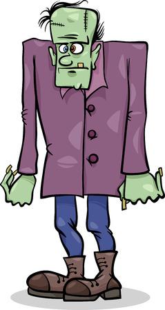 dreadful: Cartoon Illustration of Spooky Halloween Frankenstein Monster