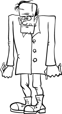 frankenstein: Black and White Cartoon Illustration of Scary Halloween Frankenstein Monster for Coloring Book