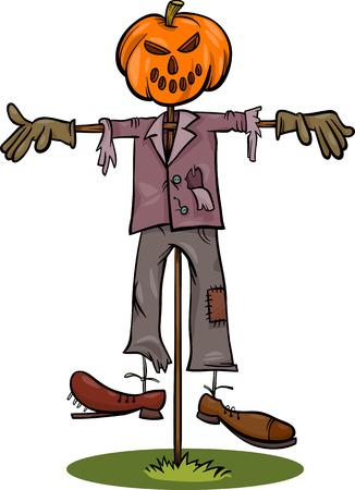 Cartoon Illustration of Spooky Halloween Scarecrow Fright Çizim