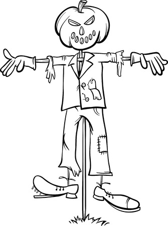 Black and White Cartoon Illustration of Scary Halloween Scarecrow Fright for Coloring Book Çizim
