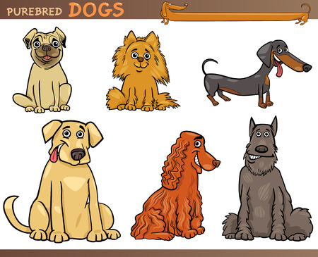 Cartoon Comic Illustration of Canine Breeds or Purebred Dogs Set Illusztráció