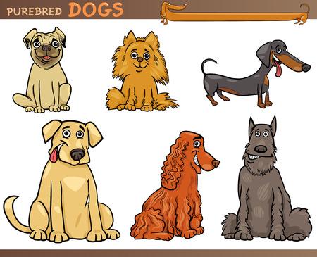 dachshund: Cartoon Comic Illustration of Canine Breeds or Purebred Dogs Set Illustration