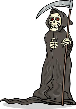 guadaña: Ilustración de dibujos animados de la muerte de Halloween Spooky con la guadaña o el esqueleto del personaje