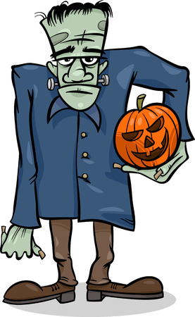 Cartoon Illustration of Spooky Halloween Zombie with Pumpkin or Frankenstein Like Monster Illustration