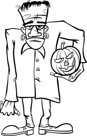 dreadful: Black and White Cartoon Illustration of Spooky Halloween Zombie or Frankenstein Like Monster for Coloring Book
