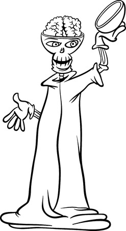 scary story: Black and White Cartoon Illustration of Spooky Halloween Skeleton or Death Character for Coloring Book