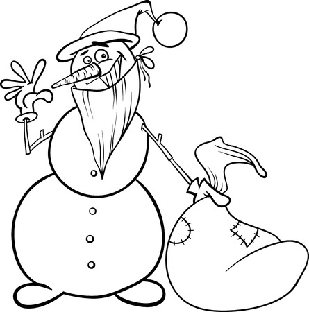 Black and White Cartoon Illustration of Snowman as Santa Claus Character with Sack Full of Christmas Presents and Gifts for Coloring Book Vector