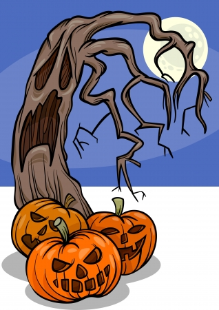Cartoon Illustration of Halloween Pumpkins with Spooky Tree Ilustracja
